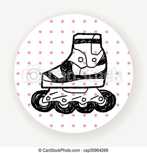 いたずら書き, スケート, ローラー - csp35864268