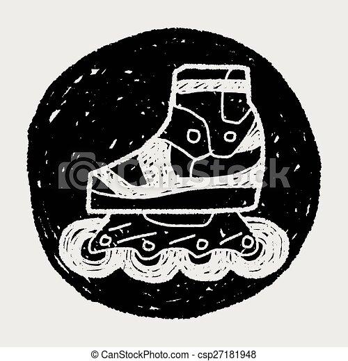 いたずら書き, スケート, ローラー - csp27181948