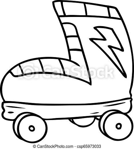 いたずら書き, ブーツ, スケート, 線画, ローラー - csp65973033