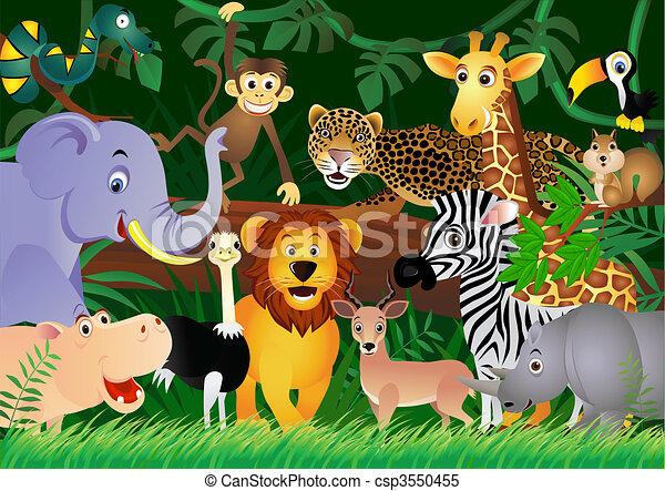 かわいい, ジャングル, 動物, 漫画 - csp3550455