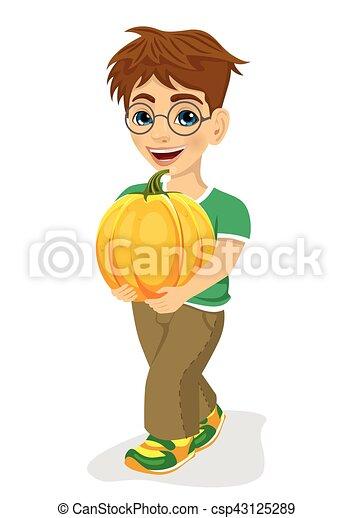 かわいい, 小さい 男の子, 大きい, 届く, 微笑, カボチャ - csp43125289