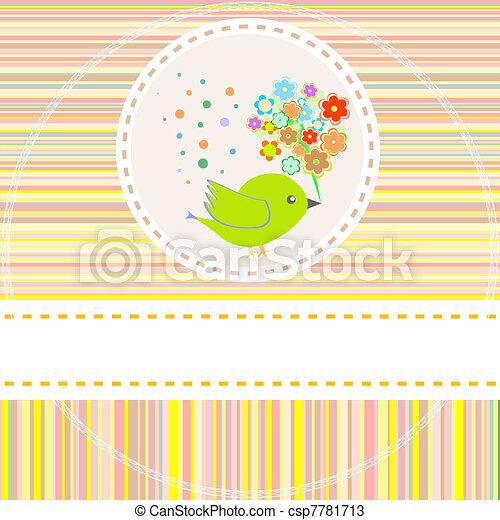 かわいい, 花, ベクトル, 鳥, カード - csp7781713