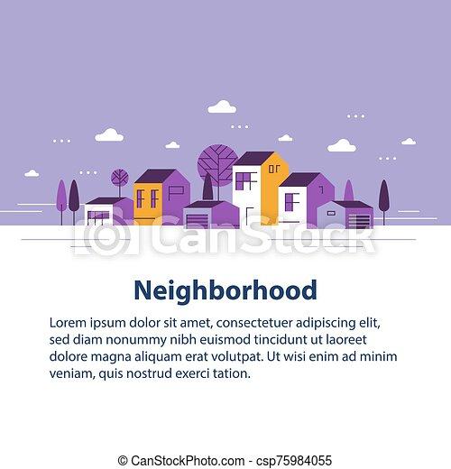 ごく小さい, 町, 家, 美しい, 住宅の近所, 村, 小さい, 光景, 横列 - csp75984055