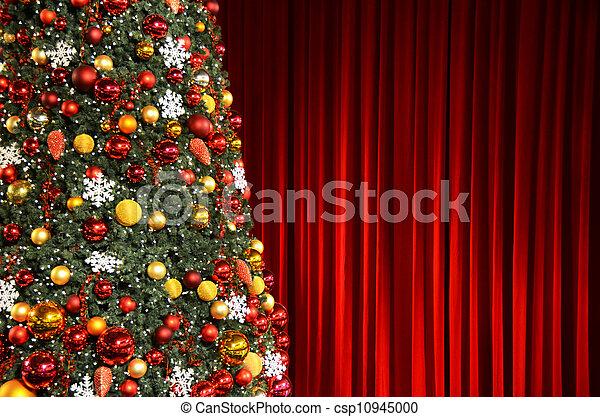 に対して, 木, ひだのある布, クリスマス, 赤 - csp10945000