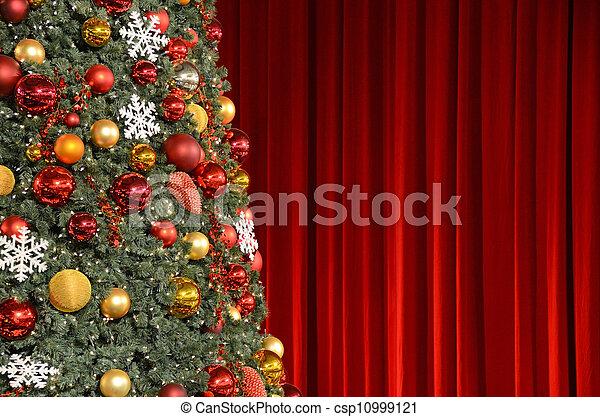 に対して, 木, ひだのある布, クリスマス, 赤 - csp10999121