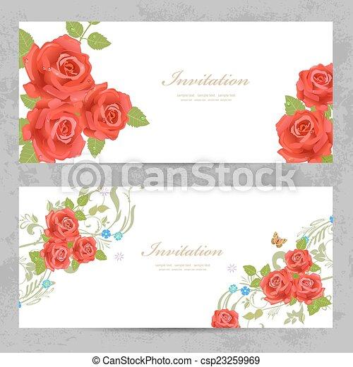 ばら, デザイン, 招待, カード, あなたの, 赤 - csp23259969