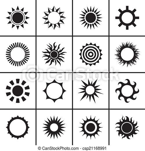 アイコン, セット, 太陽 - csp21168991