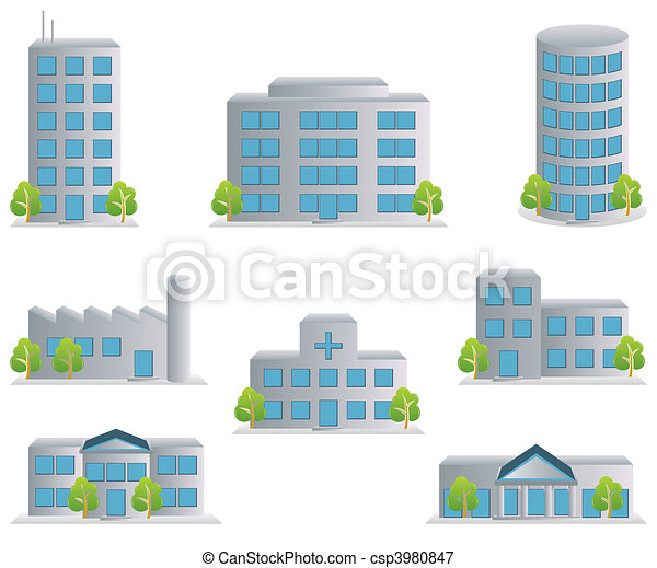 アイコン, セット, 建物 - csp3980847