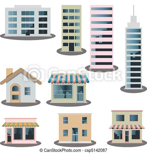 アイコン, セット, 建物 - csp5142087