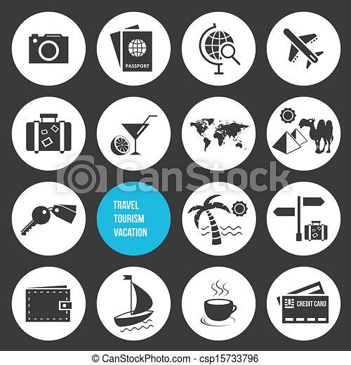 アイコン, 旅行, セット, ベクトル, 観光事業 - csp15733796