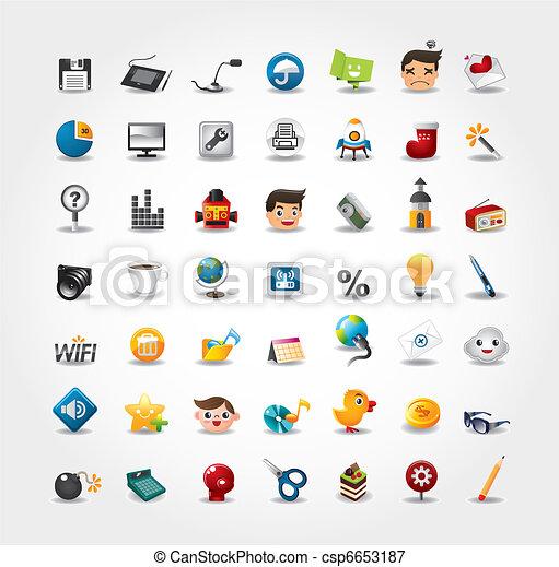 アイコン, 網のインターネット, セット, ウェブサイト, &, アイコン - csp6653187