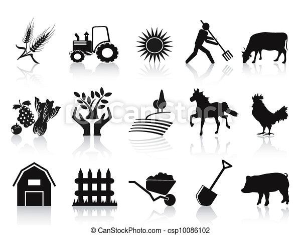 アイコン, 黒, セット, 農場, 農業 - csp10086102