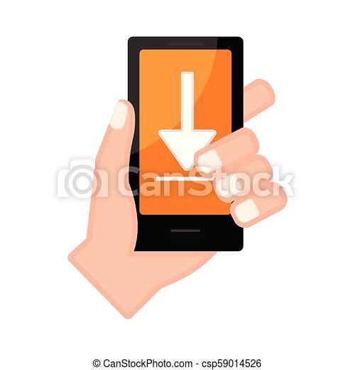 アイコン, smartphone, 保有物, 矢, 手 - csp59014526