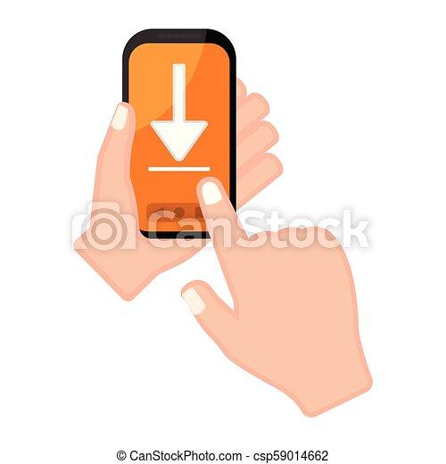 アイコン, smartphone, 保有物, 矢, 手 - csp59014662