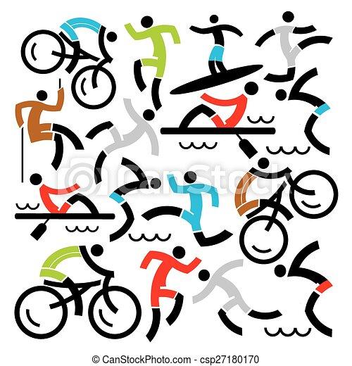アウトドアのスポーツ, アイコン, 背景 - csp27180170