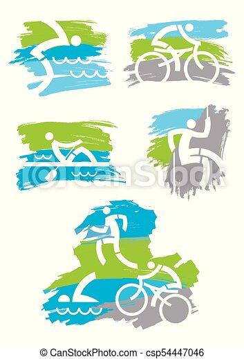 アウトドアのスポーツ, icons., グランジ, フィットネス - csp54447046