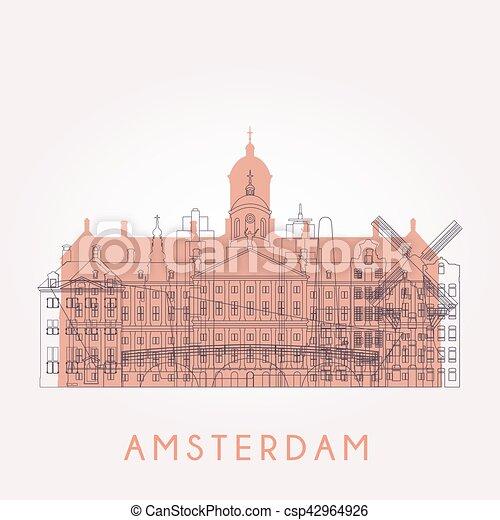 アムステルダム, スカイライン, アウトライン - csp42964926