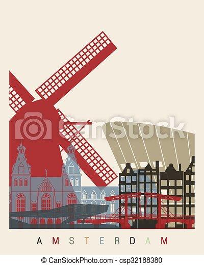 アムステルダム, スカイライン, ポスター - csp32188380