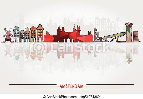 アムステルダム, ベクトル, 背景, 都市 - csp51274369