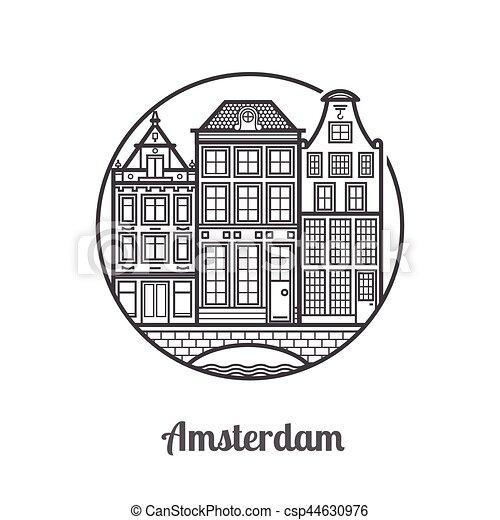 アムステルダム, 旅行, アイコン - csp44630976