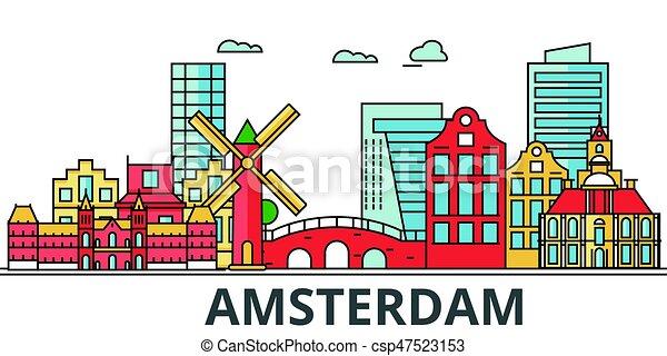 アムステルダム, 都市, skyline. - csp47523153