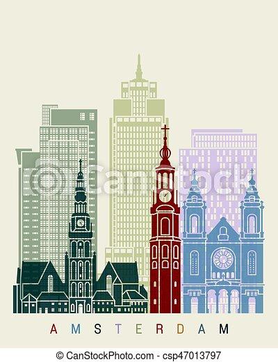 アムステルダム, v2, スカイライン, ポスター - csp47013797