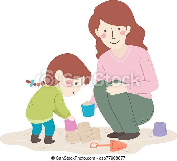 イラスト, お母さん, 子供, 砂の 城, 建造しなさい, 女の子 - csp77908677