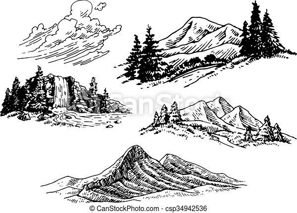 イラスト, hand-drawn, 山 - csp34942536