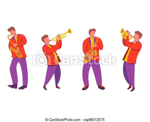イラスト, trumpet.modern, 平ら, サクソフォーン, 四つ組, ベクトル, ジャズ・ミュージシャン, ノート。 - csp86012575