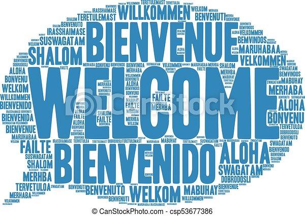インターナショナル, 歓迎, 単語, 雲 - csp53677386