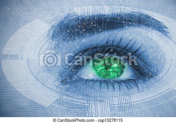 インターフェイス, 終わり, 上に, 未来派, の上, 目, 女 - csp13278115