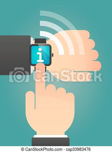 インフォメーション, 指すこと, 腕時計, 印, 手, 痛みなさい - csp33983476
