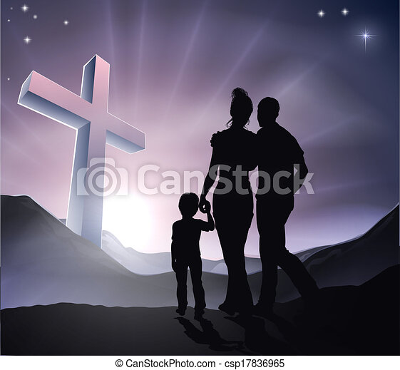 イースター, キリスト教徒, 交差点, 家族 - csp17836965