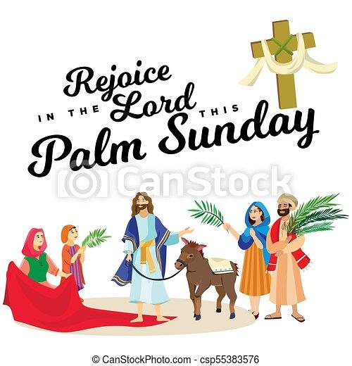 イースター, 家族, 人々, イエス・キリスト, エルサレム, やし, 挨拶, 前に, キリスト, ろば, palmtree, 宗教, 日曜日, 休日, 乗車, 幸せ, 入口, 祝福, イラスト, 葉, ベクトル, 人 - csp55383576