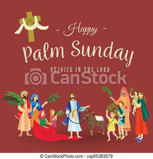 イースター, 家族, 人々, イエス・キリスト, エルサレム, やし, 挨拶, 前に, キリスト, ろば, palmtree, 宗教, 日曜日, 休日, 乗車, 幸せ, 入口, 祝福, イラスト, 葉, ベクトル, 人 - csp55383579