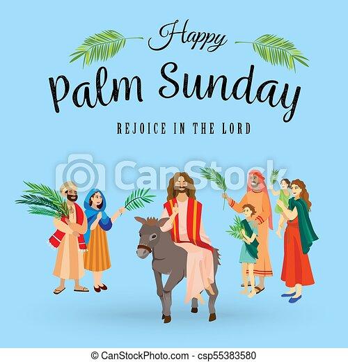 イースター, 家族, 人々, イエス・キリスト, エルサレム, やし, 挨拶, 前に, キリスト, ろば, palmtree, 宗教, 日曜日, 休日, 乗車, 幸せ, 入口, 祝福, イラスト, 葉, ベクトル, 人 - csp55383580