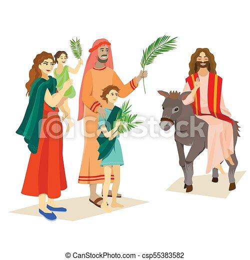 イースター, 家族, 人々, イエス・キリスト, エルサレム, やし, 挨拶, 前に, キリスト, ろば, palmtree, 宗教, 日曜日, 休日, 乗車, 幸せ, 入口, 祝福, イラスト, 葉, ベクトル, 人 - csp55383582