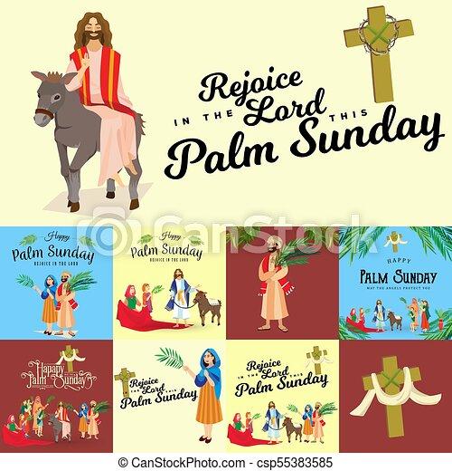 イースター, 家族, 人々, イエス・キリスト, エルサレム, やし, 挨拶, 前に, キリスト, ろば, palmtree, 宗教, 日曜日, 休日, 乗車, 幸せ, 入口, 祝福, イラスト, 葉, ベクトル, 人 - csp55383585