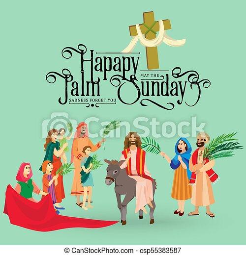 イースター, 家族, 人々, イエス・キリスト, エルサレム, やし, 挨拶, 前に, キリスト, ろば, palmtree, 宗教, 日曜日, 休日, 乗車, 幸せ, 入口, 祝福, イラスト, 葉, ベクトル, 人 - csp55383587