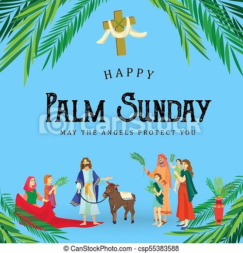 イースター, 家族, 人々, イエス・キリスト, エルサレム, やし, 挨拶, 前に, キリスト, ろば, palmtree, 宗教, 日曜日, 休日, 乗車, 幸せ, 入口, 祝福, イラスト, 葉, ベクトル, 人 - csp55383588