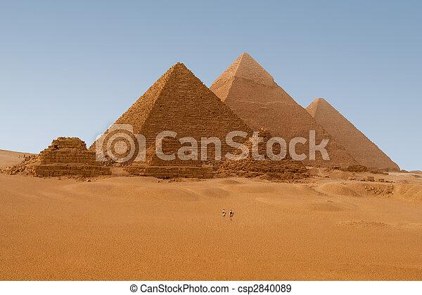 エジプト人, ギザ, エジプト, ピラミッド, 光景, 6, panaromic - csp2840089