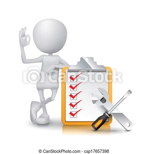 オーケー, チェックリスト, 提示, 印, 人, 手 用具, 3d - csp17657398