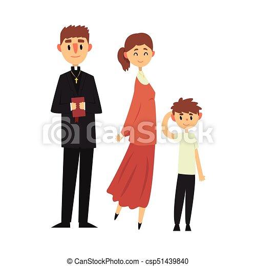 カトリック教, 司祭, キリスト教徒, 家族, 人々, 衣服, イラスト, 伝統的である, 宗教, ベクトル - csp51439840