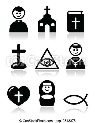 カトリック教, 教会, 宗教, アイコン - csp13548375