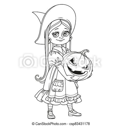 カボチャ, 保有物, にやにや笑い, 魔女, 衣装, 女の子, 大きい, 刻まれた, かわいい, 概説された, ページ, 着色 - csp83431178