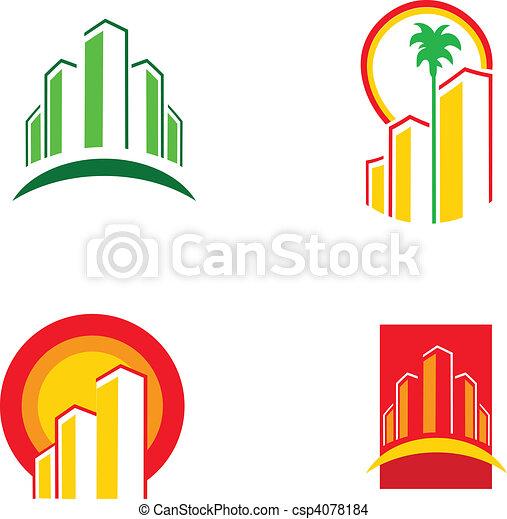 カラフルである, 建物, イラスト, ベクトル, -1, アイコン - csp4078184