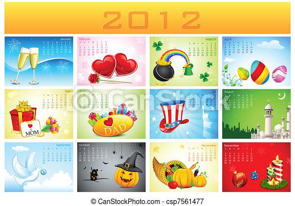 カレンダー, 休日, 2012 - csp7561477
