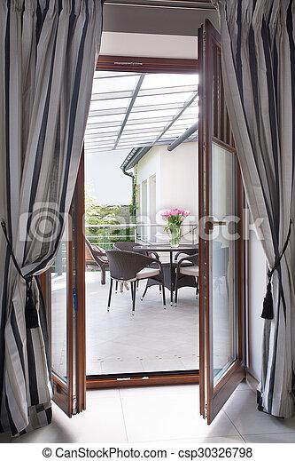 カーテン, ドア, バルコニー - csp30326798