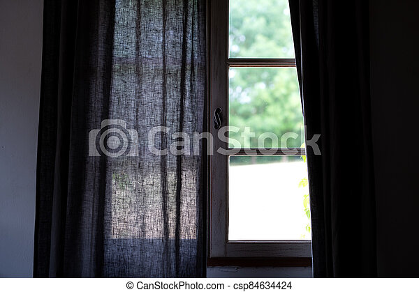 カーテン, 到来, ライト, けれども, 灰色, 部分的に, 開いた - csp84634424
