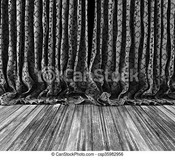 カーテン, 背景, 木製である, 花, 床, 型 - csp35982956